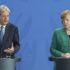 Paolo Gentiloni e Angela Merkel in conferenza stampa a Berlino